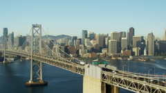 Aerial view San Francisco USA Oakland Bay Bridge city Skyscraper Stock Footage