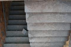 staircase cement concrete structure in residential house building of construc - stock photo