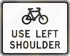 New Zealand road sign - Sign advising cyclist to use the left shoulder Stock Illustration