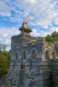 Belvedere castle under a cloudy bloue sky - stock photo