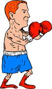 Boxer Fighting Stance Cartoon - stock illustration