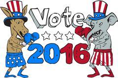 Vote 2016 Donkey Boxer and Elephant Mascot Cartoon - stock illustration