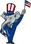 Republican Mascot Elephant Waving US Flag Cartoon - stock illustration