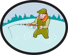 Fly Fisherman Casting Fly Rod Oval Cartoon Stock Illustration