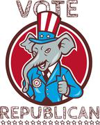 Vote Republican Elephant Mascot Thumbs Up Circle Cartoon Stock Illustration