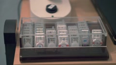 close up of a box containing trial lenses - stock footage