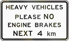 New Zealand road sign - Heavy vehicles advised not to use engine brakes for t Piirros