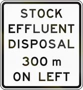 New Zealand road sign - Stock effluent disposal point ahead on left in 300 me - stock illustration