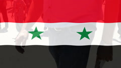 Syria flag people Walking in the background Stock Footage