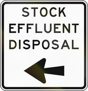 New Zealand road sign - Stock effluent disposal point, turn left - stock illustration