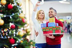 Selfie of consumers on Christmas sale Stock Photos