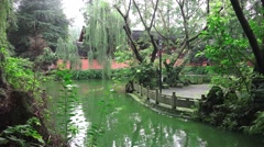 Pond In The Garden Of The Wenshu Monastery 01 Stock Footage