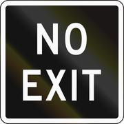New Zealand road sign - Black version of no exit sign - stock illustration