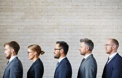 Queue of business people - stock photo