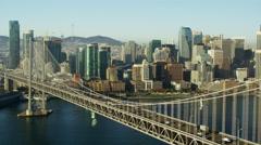 Aerial view San Francisco USA Oakland Bay Bridge city Skyscraper Stock Footage