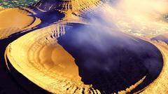 Volcanic landscape panorama - stock illustration
