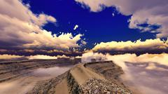 Volcanic landscape panorama - stock illustration