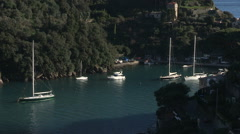 view of the bay of Portofino Stock Footage