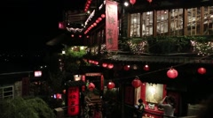 Famous big restaurant in Jiufen Old Street, Taiwan.-Dan Stock Footage