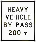 New Zealand road sign - Bypass for heavy vehicles ahead in 200 metres - stock illustration