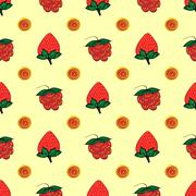Stock Illustration of raspberry strawberry berry seamless pattern
