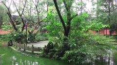 Small Island In Lake Garden Of The Wenshu Monastery Stock Footage