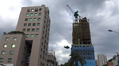 4K A view of a new high rise office building under construction-Dan Stock Footage