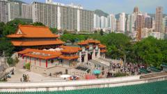 Hong Kong - October 2015: Visitors entering Wong Tai Sin Temple. 4K speed up. Stock Footage