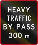 Old version of the New Zealand road sign - Bypass for heavy vehicles ahead in - stock illustration