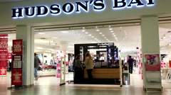 One side of people shopping inside Hudson's bay inside Burnaby shopping mall Stock Footage