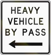 New Zealand road sign - Bypass for heavy vehicles, to left - stock illustration