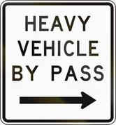 New Zealand road sign - Bypass for heavy vehicles, to right - stock illustration