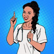 Female doctor of African - stock illustration