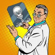 doctor surgeon x-rays skull - stock illustration