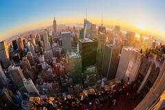 New York City Manhattan skyline in sunset. Stock Photos