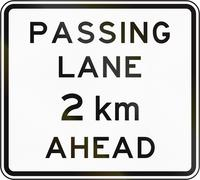 New Zealand road sign - Passing lane ahead in 2 kilometres Stock Illustration