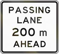 Stock Illustration of New Zealand road sign - Passing lane ahead in 200 metres