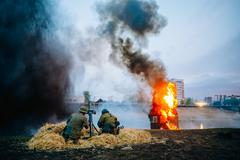 Reconstruction of Battle of Great Patriotic War in Mogilev, Bela Stock Photos