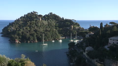 View of the gulf of Portofino Stock Footage