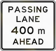 Stock Illustration of New Zealand road sign - Passling lane ahead in 400 metres