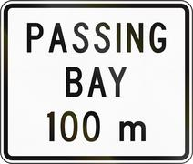 New Zealand road sign - Passing bay ahead in 100 metres Stock Illustration