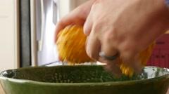 Man arranges pumpkin gourds for decoration Stock Footage