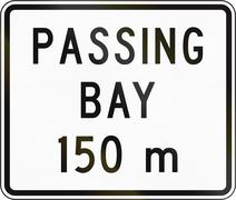 New Zealand road sign - Passing bay ahead in 150 metres Stock Illustration