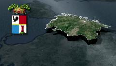 Olbia-Tempio's province with Coat of arms animation map Stock Footage