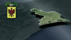 Ravenna's province with Coat of arms animation map - stock footage