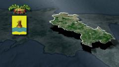 Potenza's province with Coat of arms animation map Stock Footage