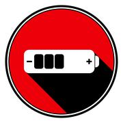 Red information icon, white battery medium Stock Illustration