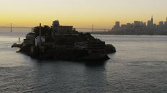 Aerial sunrise view The Rock Alcatraz Island San Francisco USA Stock Footage