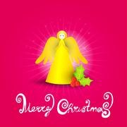 Christmas celebration angel card. - stock illustration