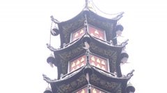 Temple Tower At The Wenshu Monastery Chengdu China Rainy Day Stock Footage